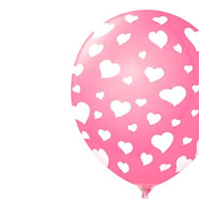 Balão Látex Rosa Corações