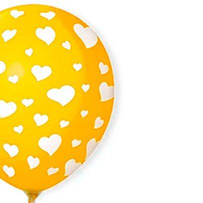Balão Látex Amarelo Corações