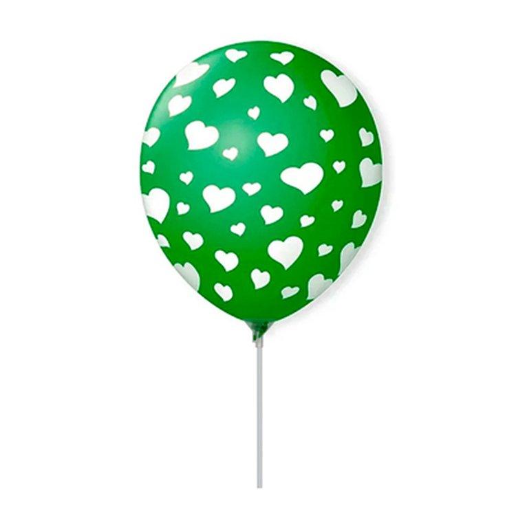 Balão Látex Verde Corações