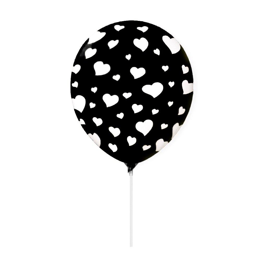 Balão Látex Preto Corações