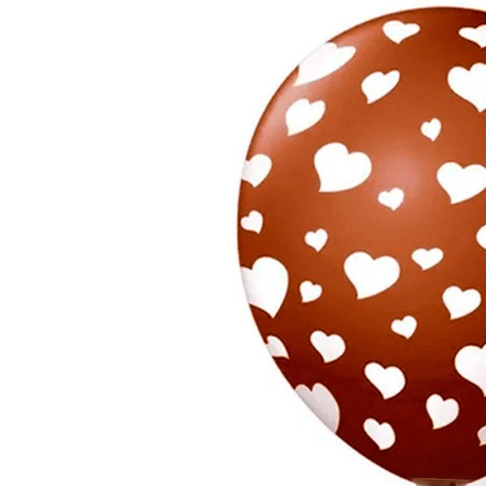 Balão Látex Marrom Corações