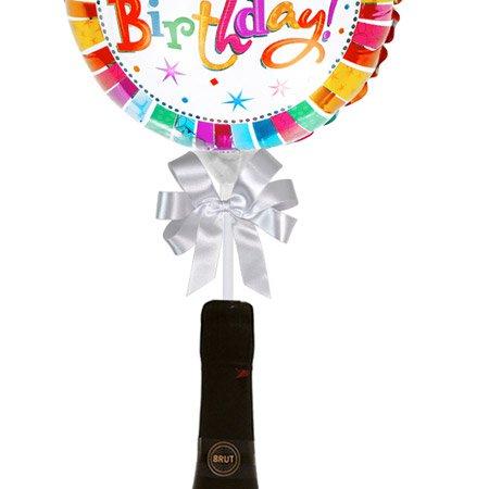 Balão Happy Birthday Colorido e Espumante Freixenet Cordon Negro