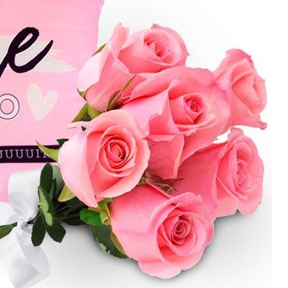 Kit com 06 Rosas Caneca e Almofada Te Amo Mãe Uatt?