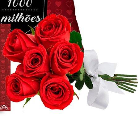 Kit Te Amo Mil Milhões e Buquê de 6 Rosas Vermelhas