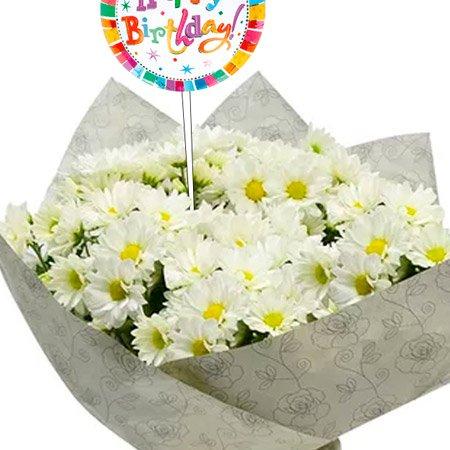 Mini Margaridinhas Brancas Happy Birthday