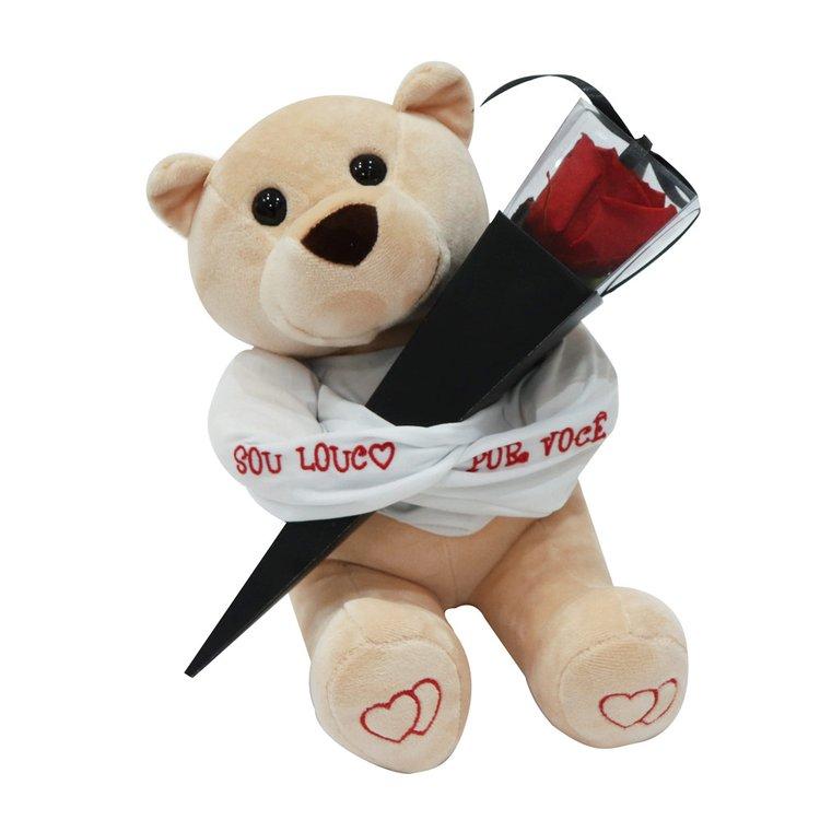Urso Louco e Cone Preto de Rosa Encantada Vermelha