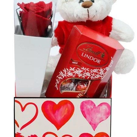 Cone Branco de Rosa Encantada Vermelha com Urso Dodói e Lindt