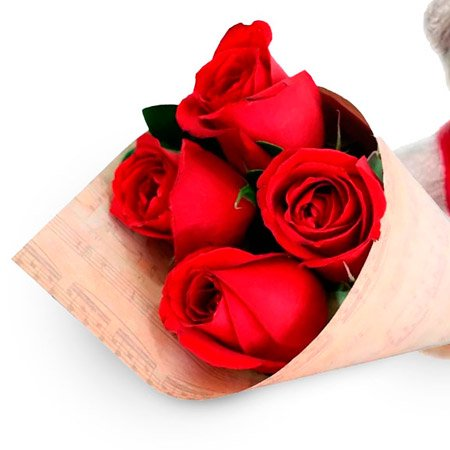 Buquê de 4 Rosas Vermelhas e Urso Dodói