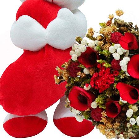 Buquê Mix de Flores Secas Vermelhas e Ursinho Carinhoso