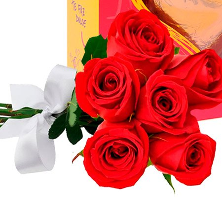 Buquê de 6 Rosas Vermelhas e Pack Corazone Havanna