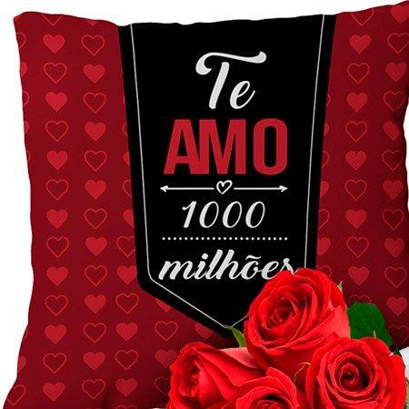 Almofada Te Amo Mil Milhões e Buquê de 6 Rosas Vermelhas