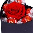 Caixinha Coração com Rosa Encantada e Lindt