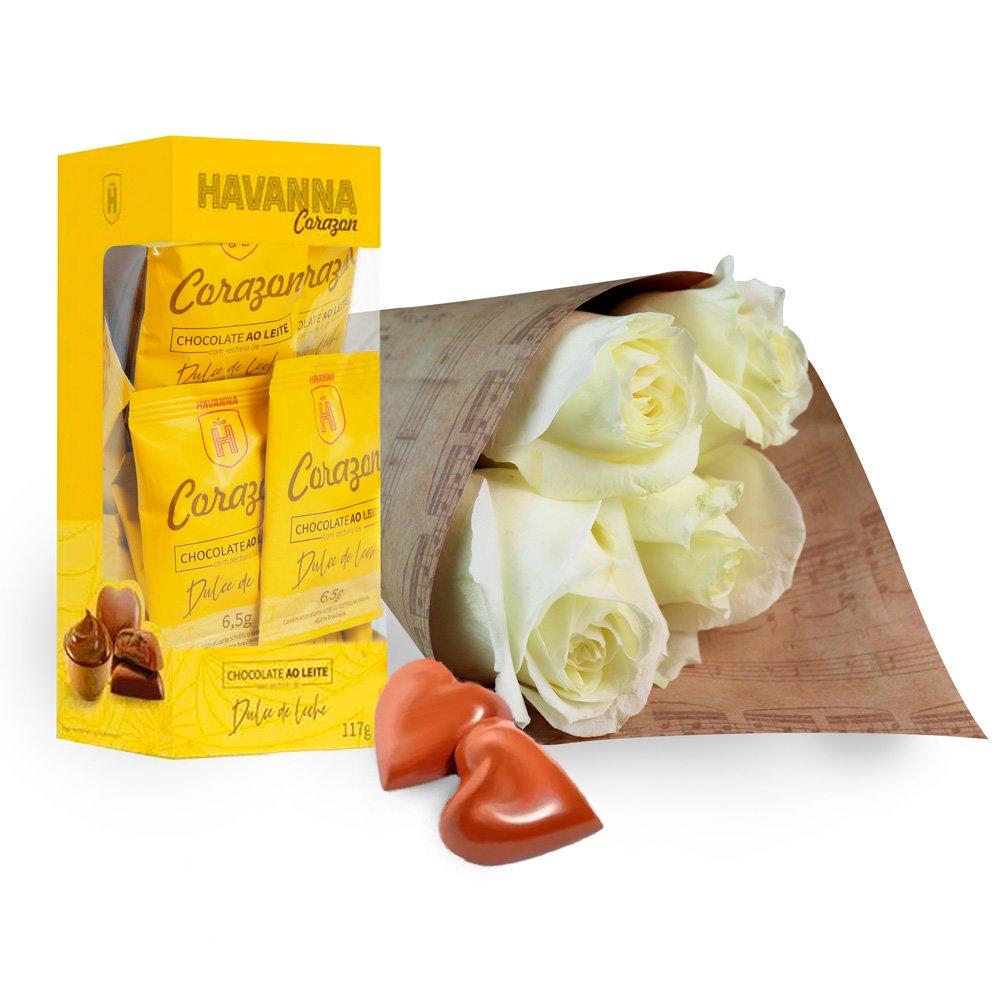 Buquê de 4 Rosas Brancas e Caixa de Corações Havanna
