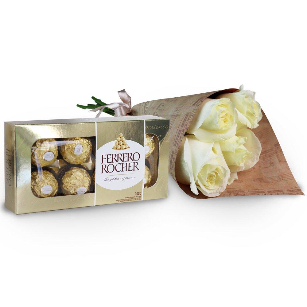 Buquê de 4 Rosas Brancas e Ferrero Rocher