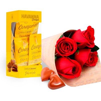 Buquê de 4 Rosas Vermelhas e Caixa de Corações Havanna