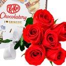 Buquê de Seis Rosas Vermelhas e Kit Kat I Love Gringos