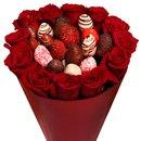 Buquê de Morangos e Rosas Vermelhas