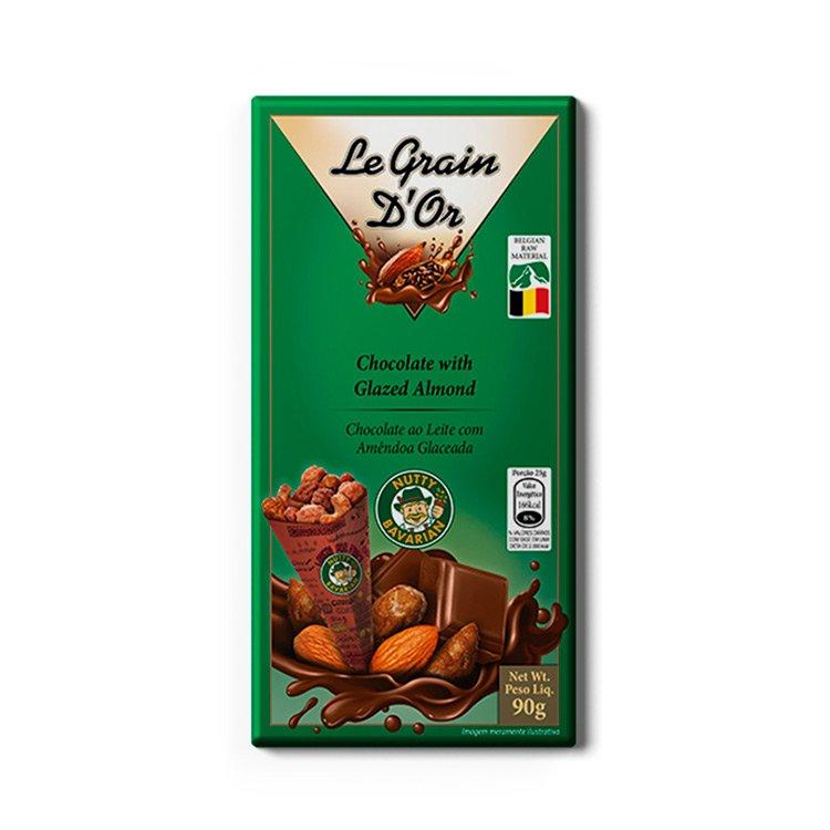 Barra de chocolate ao leite com amêndoas glaceada Nuty Bavarian