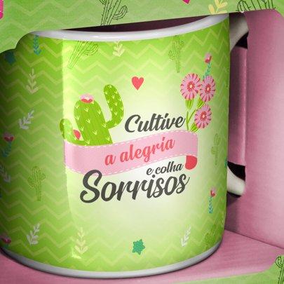 Caneca Porcelana Cactus Cultive a Alegria