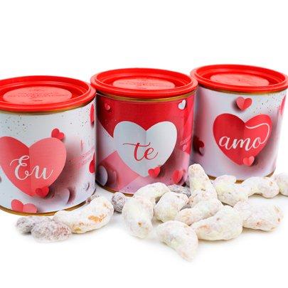 """Kit de Castanhas Cobertas por Chocolate """"Eu Te Amo"""""""