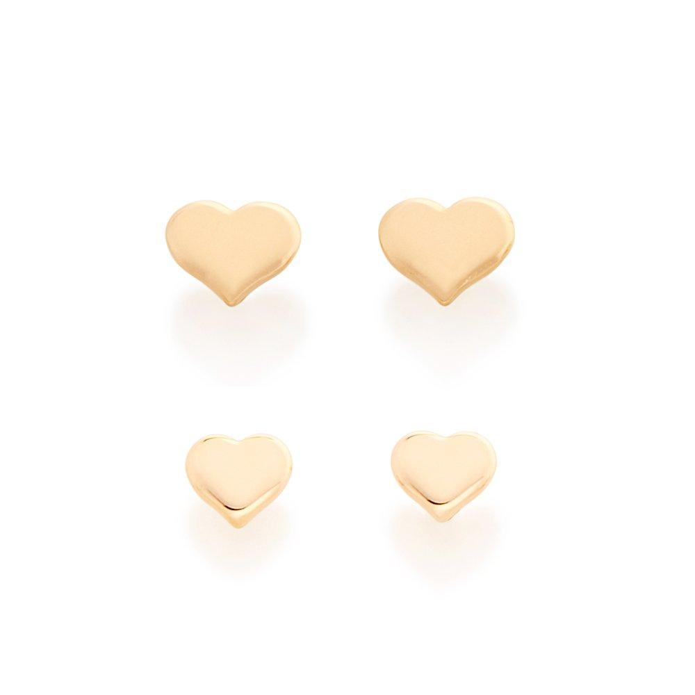 Kit Brincos Folheados a Ouro Coração Rommanel