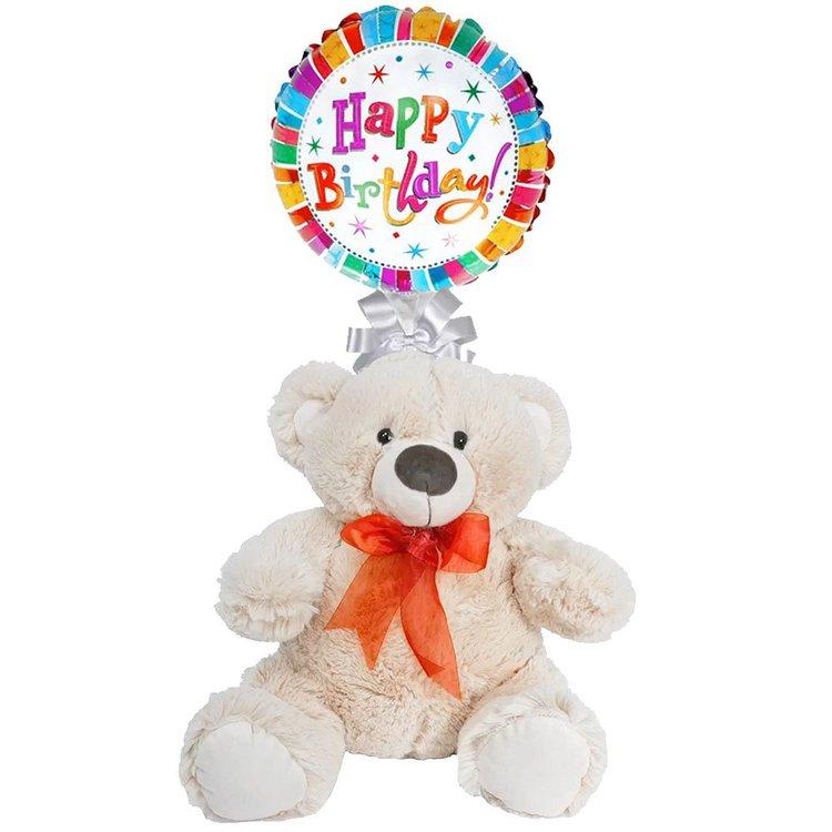 Balão Happy Birthday e Urso de Pelúcia Dudu