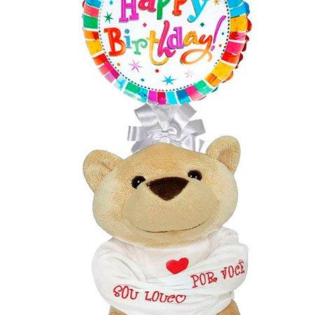 """Balão Happy Birthday e Urso """"Louco por Você"""""""