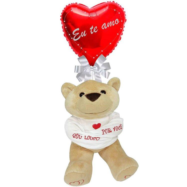 """Balão Eu Te Amo e Urso """"Louco por Você"""""""