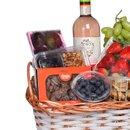 Cesta de Frutas Premium com Vinho Rosé