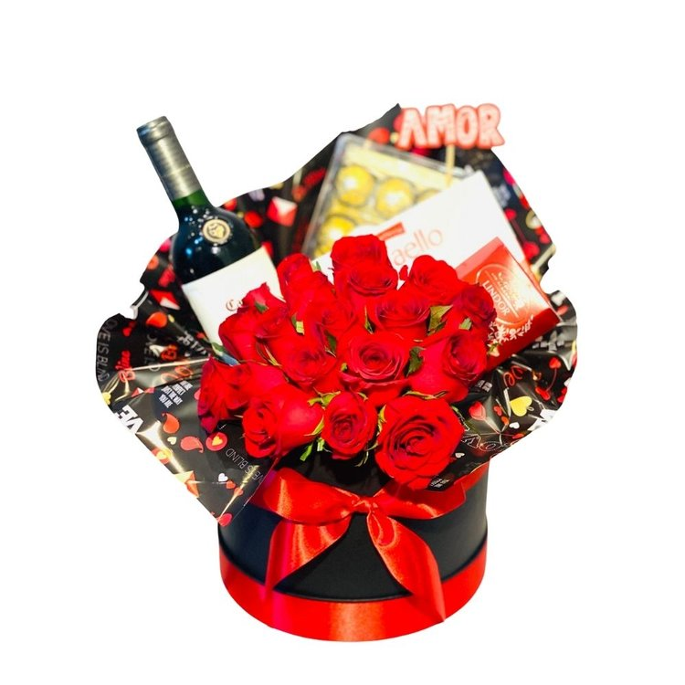 Box de Luxo - Rosas Vinhos e Chocolates
