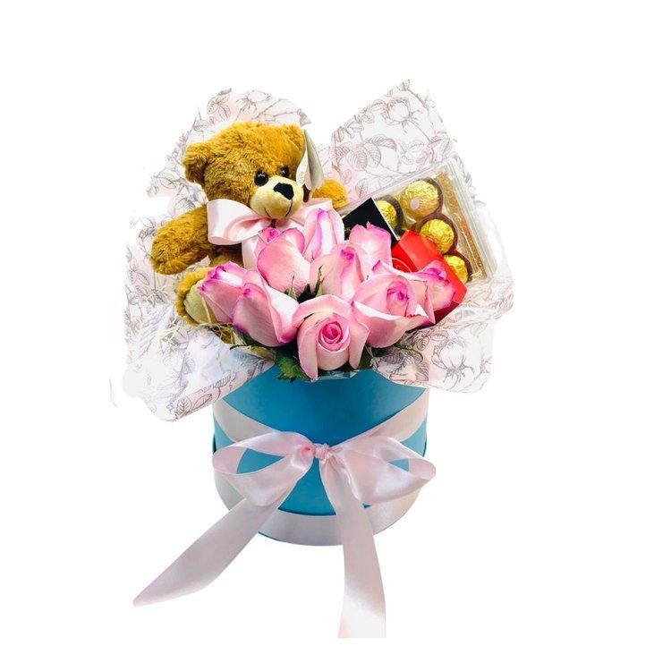 Box de Luxo Urso e Rosas