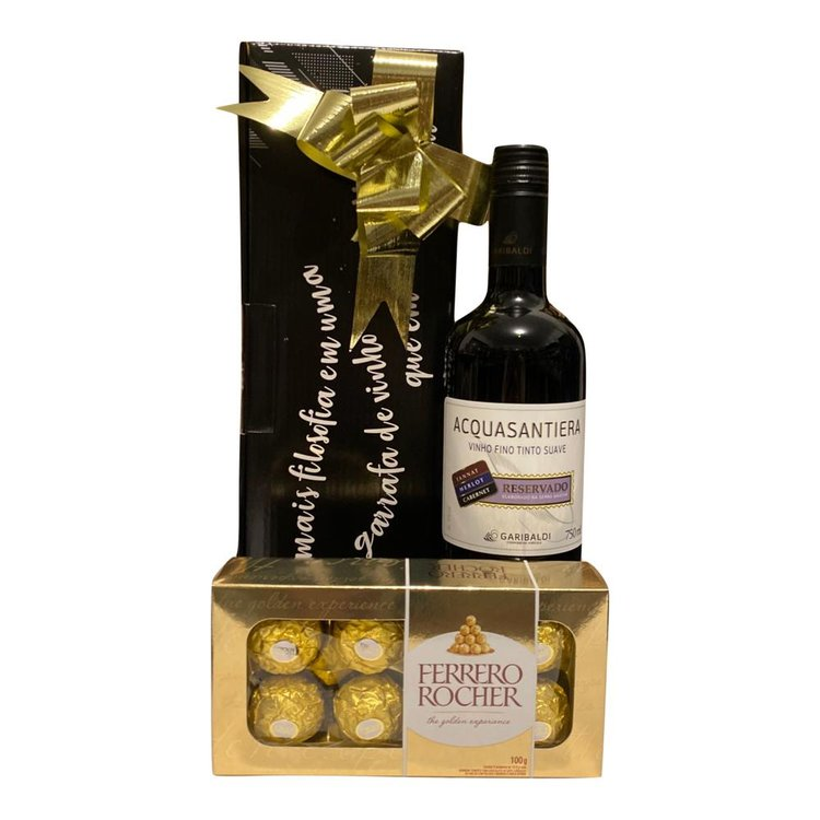 Kit de Presente Vinho e Bombons