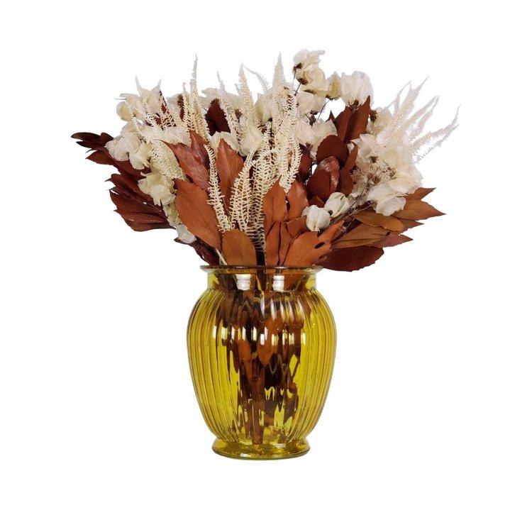 Arranjo Desidratado Flora Delicada  + Vaso Amarelo