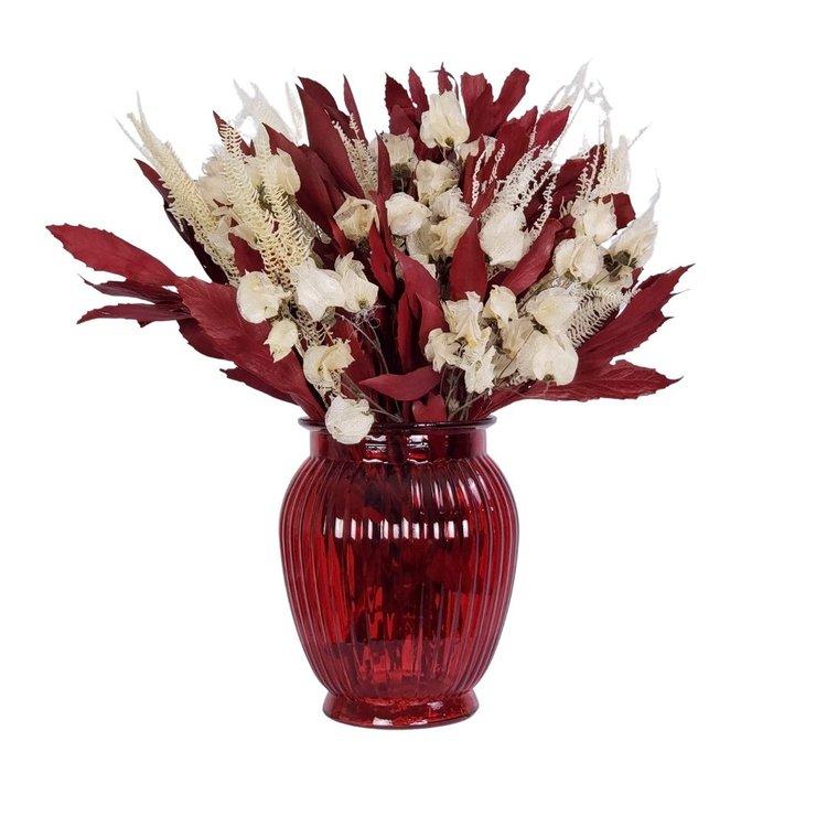Arranjo Desidratado Flora Delicada  + Vaso Vermelho