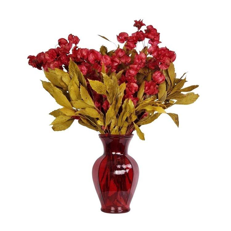 Arranjo Desidratado Flora Intensa + Vaso Vermelho