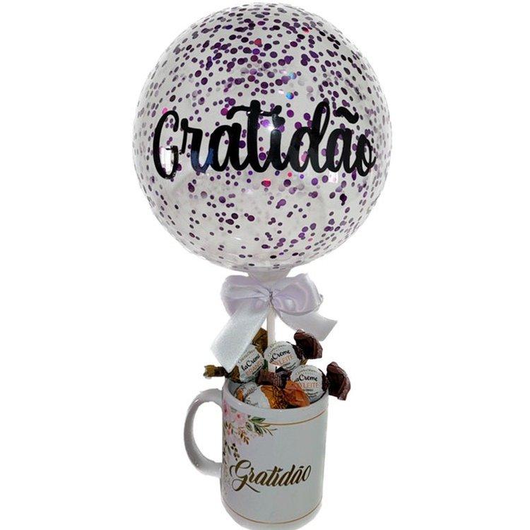 Caneca de bombons e Balão Gratidão