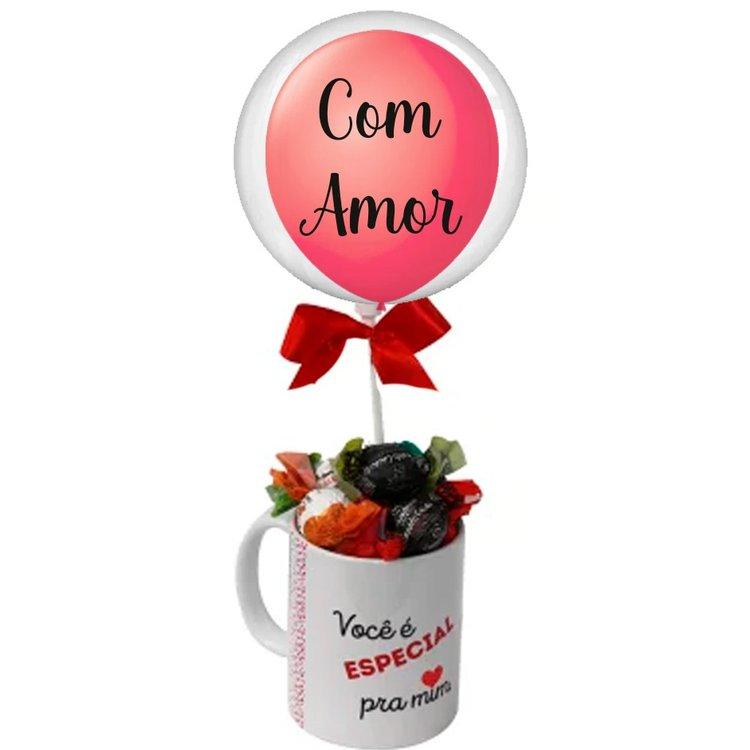 Caneca de bombons e Balão Com Amor